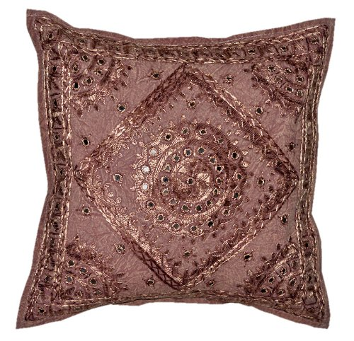 Marvellous Home Decor Art Rajrang Mirror & Embroidery Work Brown Green Color Cotton Cushion Cover/ Throw Pillow Cover Comforter Sets India (Size 16x16) (5 Pcs)