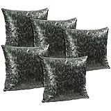 Idrape Rexin 5 Piece Cushion Cover Set- Dark Green, 40 Cm X 40 Cm