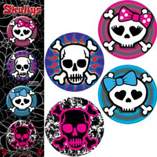 "Licenses Products Cute Skulls Assorted Artworks 1.25"" Button Set, 4-Piece - 1"