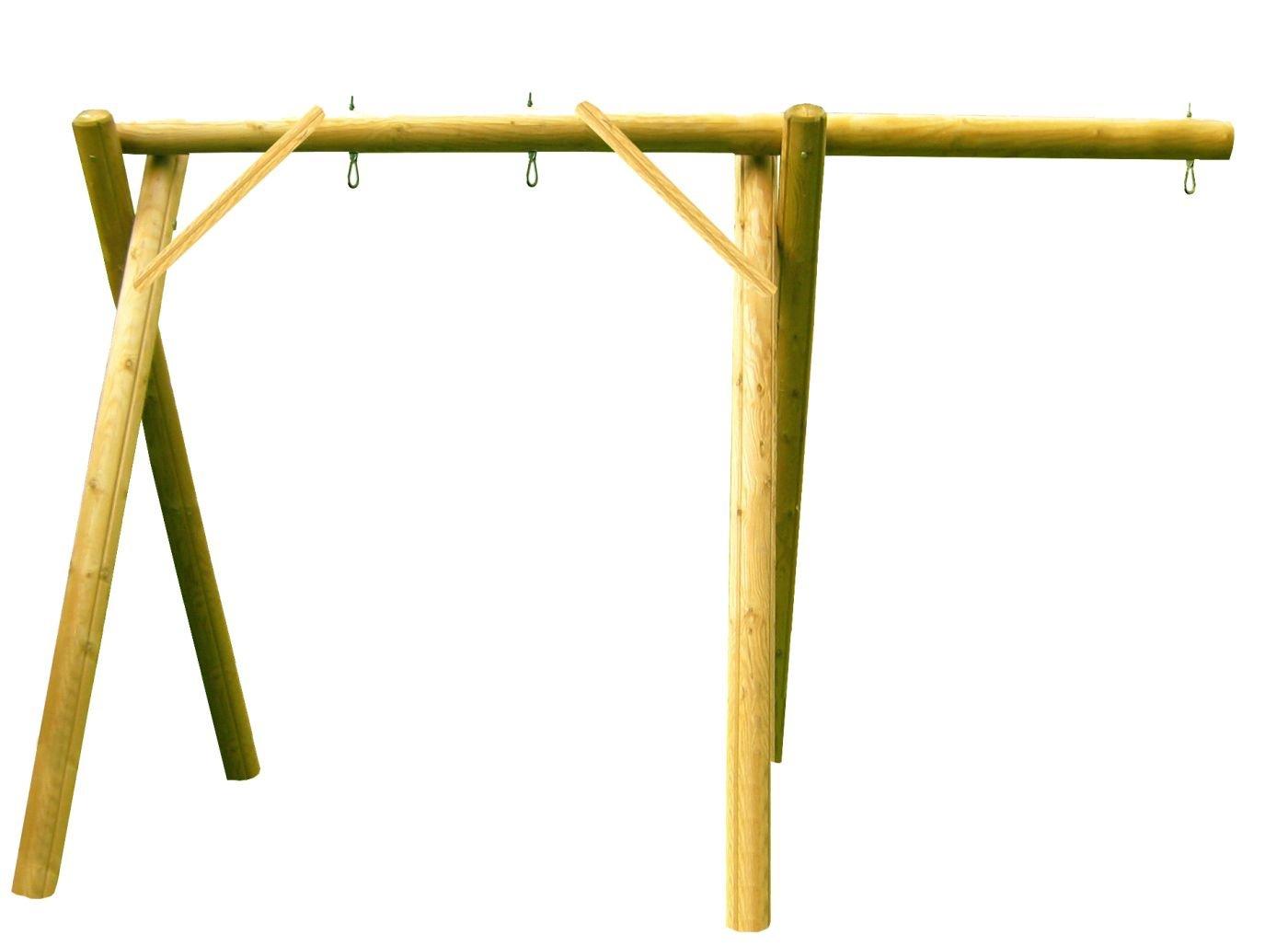 b+t IGA-3001-K-220-U 1-Platz Schaukelgestell mit einseitigem Überstand / aus Kiefer / für den privaten Bereich / inkl. Schaukelhaken Bereich / inkl. Schaukelhaken