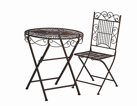 Sitzgruppe Turin Runder Tisch mit 2 Stuhlen Metall Gartengarnitur Gartenmöbel