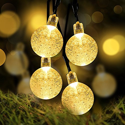 Solar Globe String Lights, Loende Waterproof 21FT 30 LED 8 Modes Outdoor Fairy Garden Ball Christmas Lighting for Indoor, Home, Bedroom, Yard, Patio, Lawn, Tree, Holiday, Party Decor(Warm White)