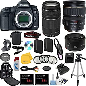 Canon EOS 5D Mark III 22.3 MP CMOS Digital SLR w/ Canon EF 28-135mm f/3.5-5.6 IS USM Standard Lens +Canon 75-300mm III Zoom Lens +Canon 50mm f/1.8 II Lens +18pc Accessory Kit - International Version