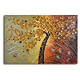 TJie Art Hand Painted Mordern Oil Paintings,Embossed Cherry on Grass Oil Painted Wall Art,Nature painting in colorful modern style, Oils on canvas hand-painted by artist, Autumnal palette of gold orange and black, Gallery stretched over wood frame