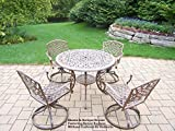 Oakland Living Mississippi Cast Aluminum 5-Piece Swivel Dining Set with Cushions and 42-Inch Table