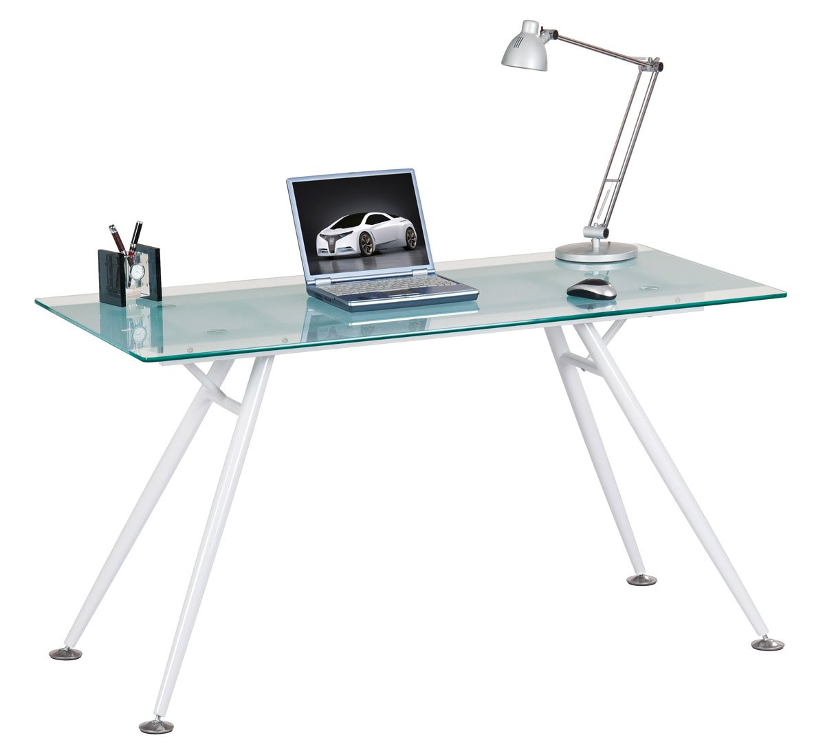 Alphason Springfield Clear Glass Computer Desk       Customer reviews and more description
