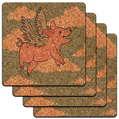 "Custom & Cool {4"" Inches} Set Pack of 4 Square ""Grip Texture"" Drink Cup Coaster Made of Cork w/ Cute Cartoon Farm Animals Flying Pig w/. Angel Wings Design [Beige, Teal & Pink Colors]"