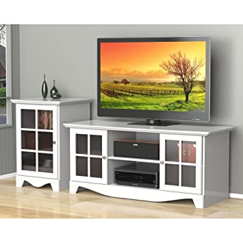 White TV Stand Set with Audio Stand FMP25285
