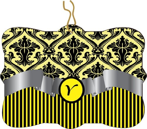 "Rikki Knighttm Letter ""Y"" Initial Yellow Damask And Stripes Monogrammed Design Tree Ornament / Car Rear View Mirror Hanger front-636008"