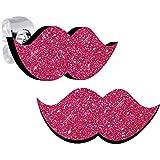 Perfect Pink Glitter Mustache Stud Earrings
