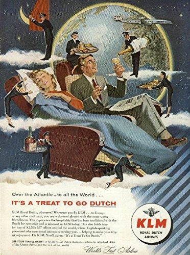 Go Dutch Klm Royal Dutch Airlines Lockheed Constellation Ad #2 1956 Ny