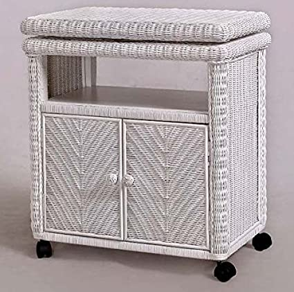 Santa Cruz White Rattan and Wicker TV Stand with Caster Wheels