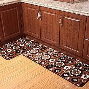 Amazon Ustide 2 Piece White with Brown Kitchen Rug