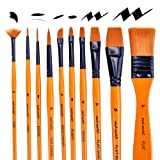 Mont Marte Art Paint Brushes Set for Painting, 10 Variety of Brushes Types for Class, Kids, Artists- Nice Art Brushes for Acrylic Painting (Tamaño: Acrylic Paint Brushes)