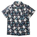 (ビルバン)BILLVAN ビルバン×キン肉マン コラボレーション ハワイアンシャツ 沖縄産 かりゆし アロハシャツ メンズ アメカジ XL ブラック