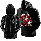 Ya-cos Cosplay Tokyo Ghoul Ken Kaneki Hoodie Jacket Coat Costume Cotton Black (Color: Black, Tamaño: Large)