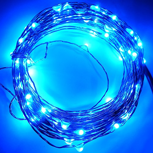 E-Age 33Ft Blue Copper Wire Led Starry Lights, 12V Dc Led String Light, Includes Power Adapter, With 100 Individual Leds