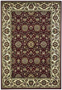 Area Rug 7x7 Octagon Traditional Red Color