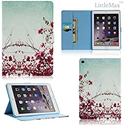 iPad Air 2 Case,LittleMax(TM) Kickstand Faux Leather Case Smart [Auto Wake/Sleep] Wallet Case [Magnet Clasp] Flip Cover for iPad Air 2 / iPad 6 [Free Cleaning Cloth,Stylus Pen]-# Peach Blossom