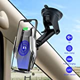 HOCO Qi Wireless Car Charger Stand Automatic Infrared Clip Air Vent Mount Car Phone Holder Quality Glass Surface 15W Fast Charger for iPhone Xs Max XR for Samsung S10/S9/S8/Note 8 (Silver) (Color: silver)
