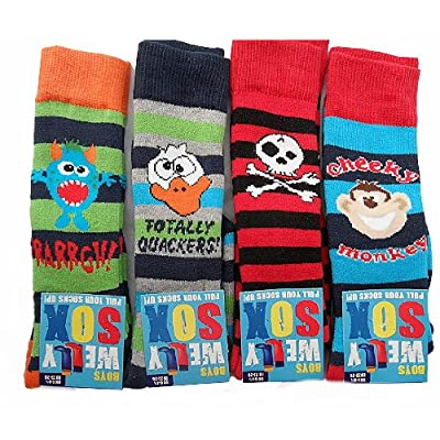 4 Pairs Boys Long thick Winter Welly Socks