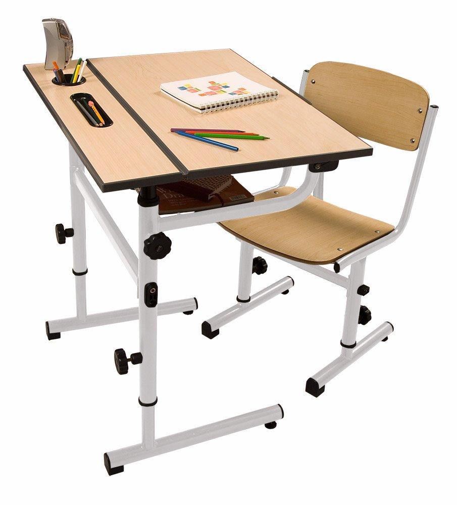 Da Vinci Children's Art Desk White Steel Frame, Wood Top and Seat