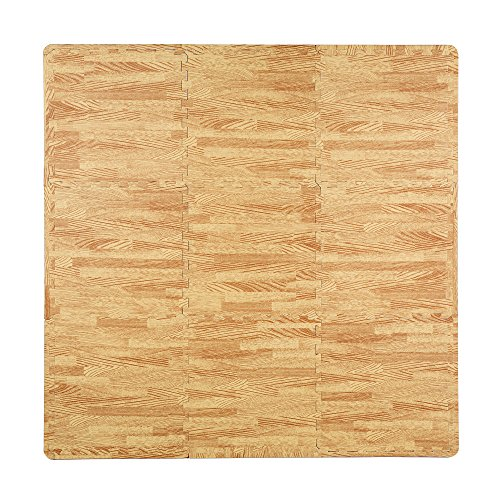 Superjare 9 Pieces Eva Foam Mat Interlocking Tiles Protective Flooring with Boarders Light Wood Grain