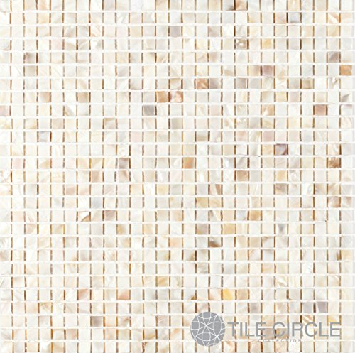 """Genuine Mother of Pearl Shell Tile Natural Varied 3/8"""" x 3/8"""" Micromosaic Squares (On a 12"""" X 12"""" Mesh) for Backsplash and Bathroom Walls and Floors"""