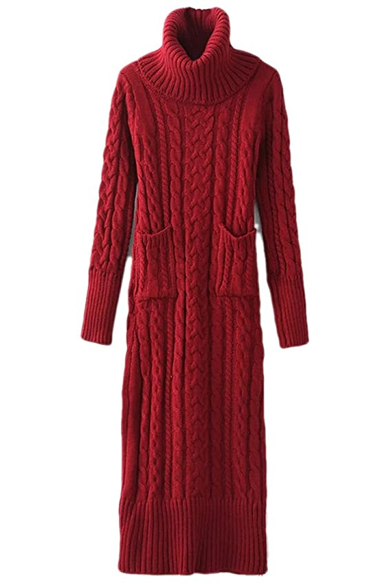 Pink Queen Womens High Collar Knitted Sweater Slim Fit Long Dress with Pockets