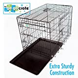 "36""L x 23""W x 26""H GoGo Black Epoxy Double Door Folding Wire Crate w/Fleece Bed"