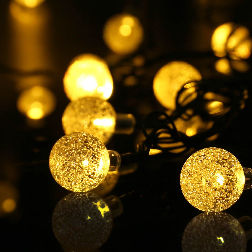 Qedertek Globe Outdoor Solar String Lights 20ft 30 Led Fairy Bubble Crystal Ball