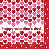 Unique 16 Count Hearts Happy Valentine's Day Party Napkins, Red/Pink