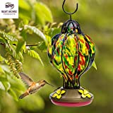 Glass Hummingbird Feeder - HAND-BLOWN Feeders - Stylish, Premium & Unique - Holds 4.5 ounces of Nectar - Tiffany Treat - Rave Reviews - 100% MONEY BACK GUARANTEE (by Best Home Products)