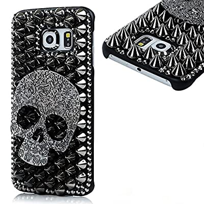 KAKA(TM) Fashion Style Skull Pattern 3D Handmade Rhinestone Bling Crystal Pearl Case Cover Clear Hard Case for samsung galaxy s6 edge from KAKA