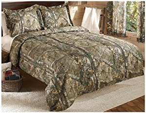 Real Tree Xtra Mini Comforter Set, Full, Tan, Camo