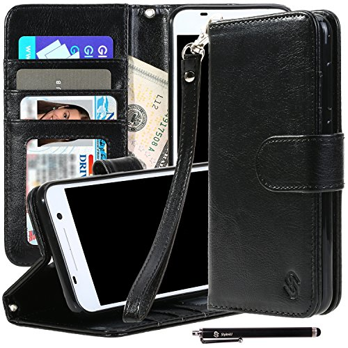 HTC One A9 Case, Style4U Premium PU Leather Stand Wallet Case with ID Credit Card / Cash Slots for HTC One A9 + 1 Stylus