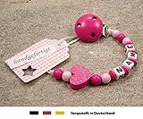 kleinerStorch kS-013-1 Baby Schnullerkette mit Namen -...