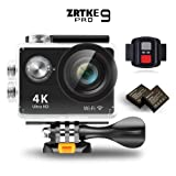 Sports Action Camera, ZRTKE 4K Ultra HD WiFi Waterproof Camcorder 12MP 170 Wide Angle Lens Includes 2 Rechargeable Batteries and Accessory Kit (Black) (Color: Black)