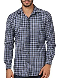 WILLOWY Men's Casual Slim Fit Cotton Shirt  - Full Sleeve - Blue & Black Check