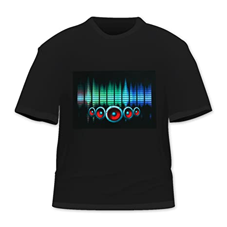 Black Sound Activated LED T-Shirt by HDE