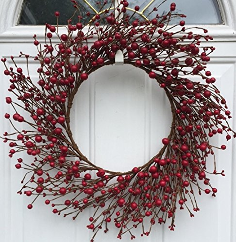 Mixed Red Berry Autumn Wreath 22 Inches Handmade Fall Thanksgiving Valentines Day Front Door Wreath Wall Decor