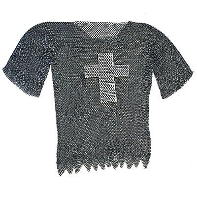 Legendary Templar Cross Chainmail Blackened Haubergeon Extra Large