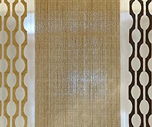 108 Wide Gold Geometrical Stitch Embroidery Sheer Curtain Polyester Weaved Fabric