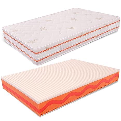 Matratze Flut Bett 120x 190Wellenprofil Memory Foam hoch 25cm hohe densitö Aloe Vera miasuite