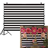 Allenjoy 8x6ft Fabric Black and White Stripes Backdrop for Birthday Wedding Party Dessert Table Decor Studio Photography Pictures DIY Photo Booth Striped Banner Background Baby Bridal Shower Newborn (Color: black stripes, Tamaño: 8'x6' Durable Fabric)