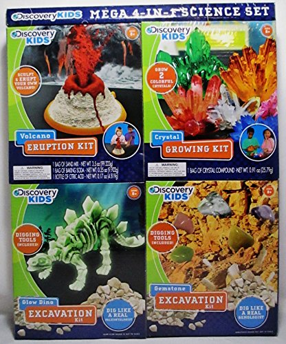 Discovery Kids Mega 4 in 1 Science Set - Volcano, Crystal, Glow Dino, Gemstone (Science Gems compare prices)