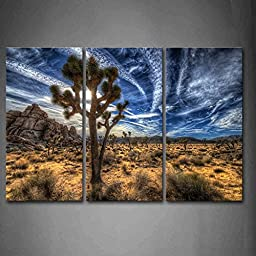First Wall Art® - Joshua Trees On Desert Grass Wall Art Painting The Picture Print On Canvas Landscape Pictures For Home Decor Decoration Gift