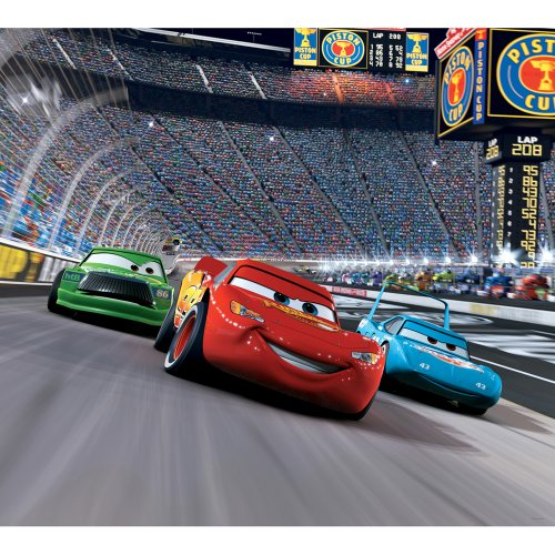 Blue Mountain Wallcoverings DMM2517 Cars Race Track Self-Stick Mini Wall Mural 31.625-Inch by 28.375-Inch