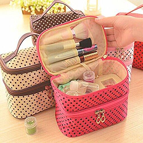 Pixnor-doppio strato con cerniera, motivo a pois, con trousse-Beauty Case per Make-up, Borsa a mano (Rosa)