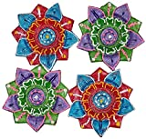 Art with Emphasis Traditional Lotus Shaped Terracotta Diya with Wick ( Set of 4)